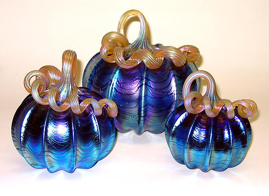 Silver Blue Pumpkins - Art Glass Sculpture - by Ingrid Hanson and Ken Hanson