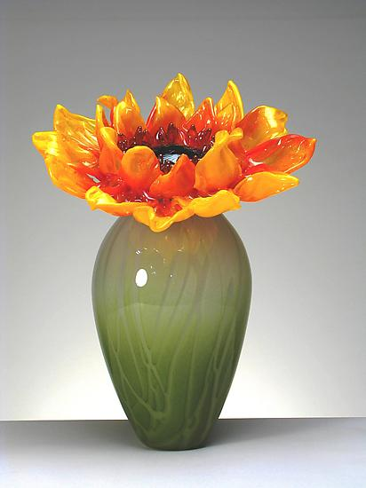 Sunflower in vase - Art Glass Sculpture - by Michael Cohn and Molly Stone