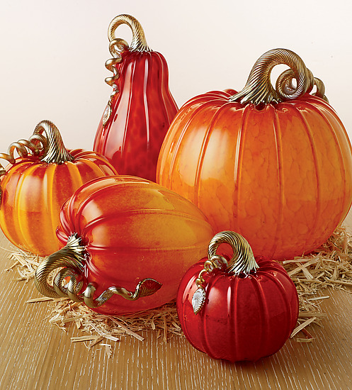 Ruby Pumpkins and Squash - Art Glass Sculpture - by Michael Cohn and Molly Stone