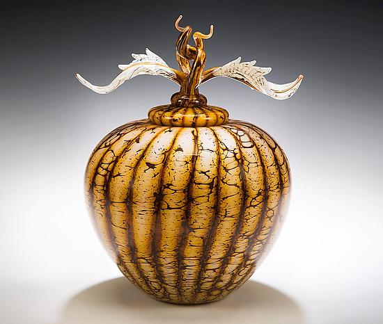 Batik Acorn Vessel with Avian Finial - Art Glass Vessel - by Danielle Blade and Stephen Gartner