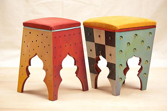Ebb and Flo - Wood Stool - by Meg Romero