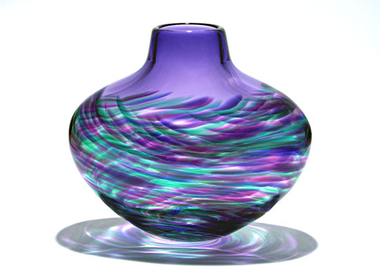 Flattened Vortex Vase: Purple - Art Glass Vase - by Michael Trimpol