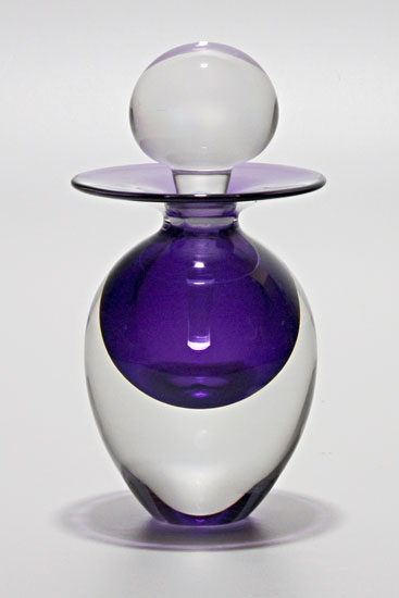 Egg Perfume Bottle: Grape - Art Glass Perfume Bottle - by Michael Trimpol