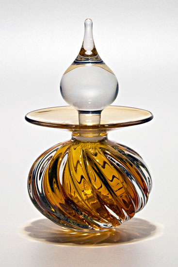 Twisted Square Rib Perfume Bottle: Sunshine - Art Glass Perfume Bottle - by Michael Trimpol