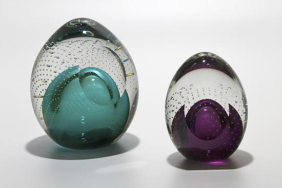 Bubble Paperweights with Facet - Art Glass Paperweight - by Michael Trimpol