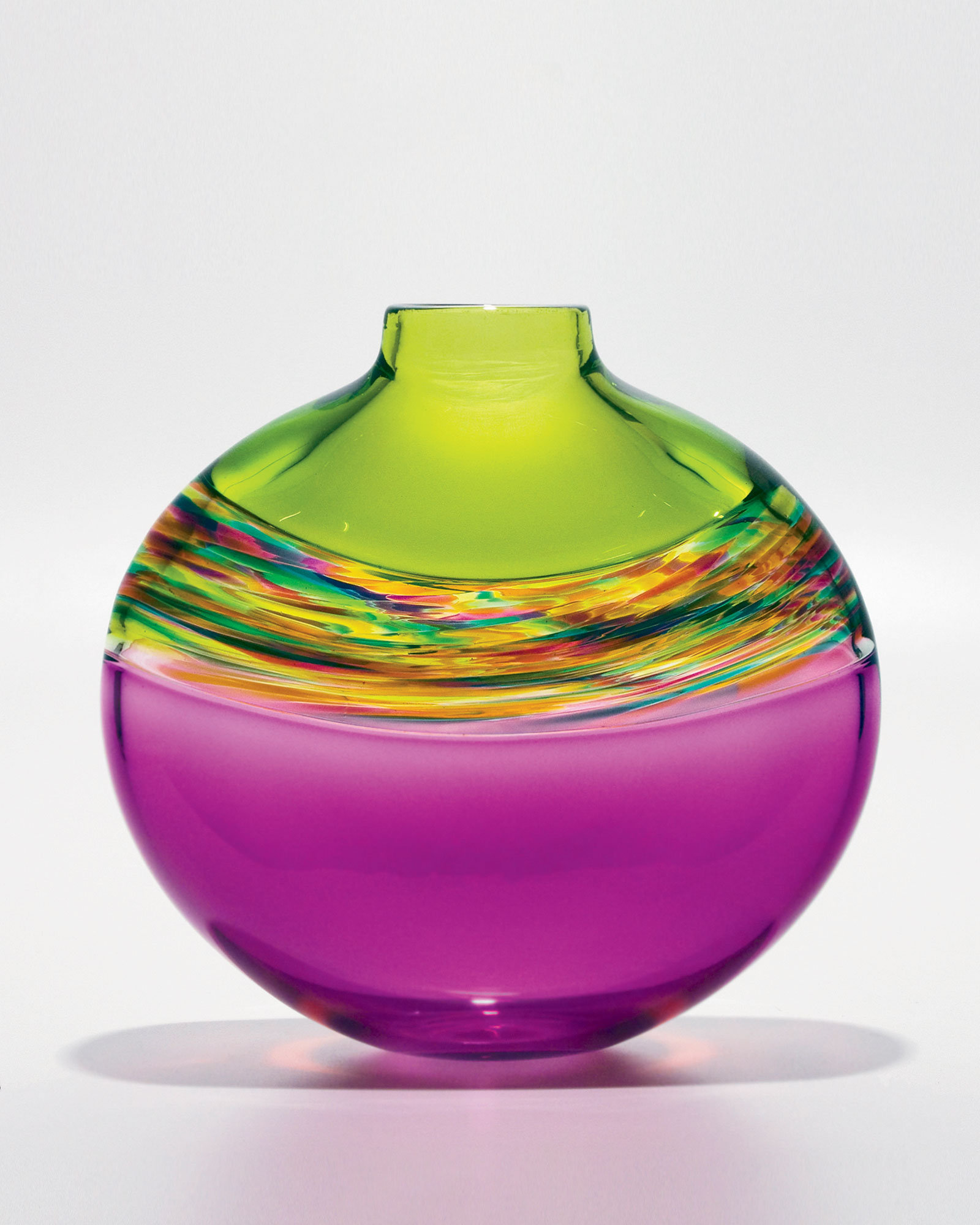 Flat Transparent Banded Vortex Vase in Lime Spring Violet - Art Glass Vase - by Michael Trimpol
