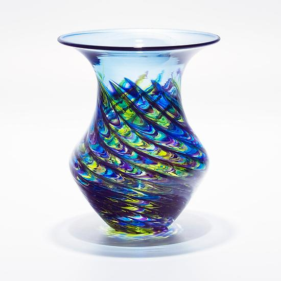 Optic Rib Urn Small Cool Lime with Cerulean - Art Glass Vessel - by Michael Trimpol