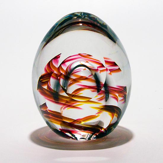 Medium Helix Weight and Facet in Summer - Art Glass Paperweight - by Michael Trimpol