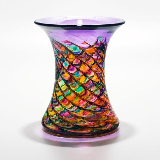 Optic Rib Cooling Tower Vase in Candy - Art Glass Vase - by Michael Trimpol