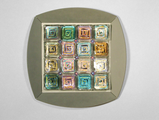 Magic Squares: Silver - Art Glass Wall Art - by Rene Culler