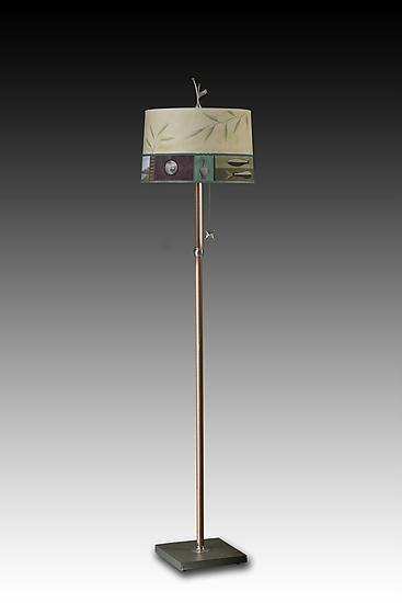 Twin Fish in Celery - Mixed-Media Floor lamp - by Janna Ugone and Justin Thomas