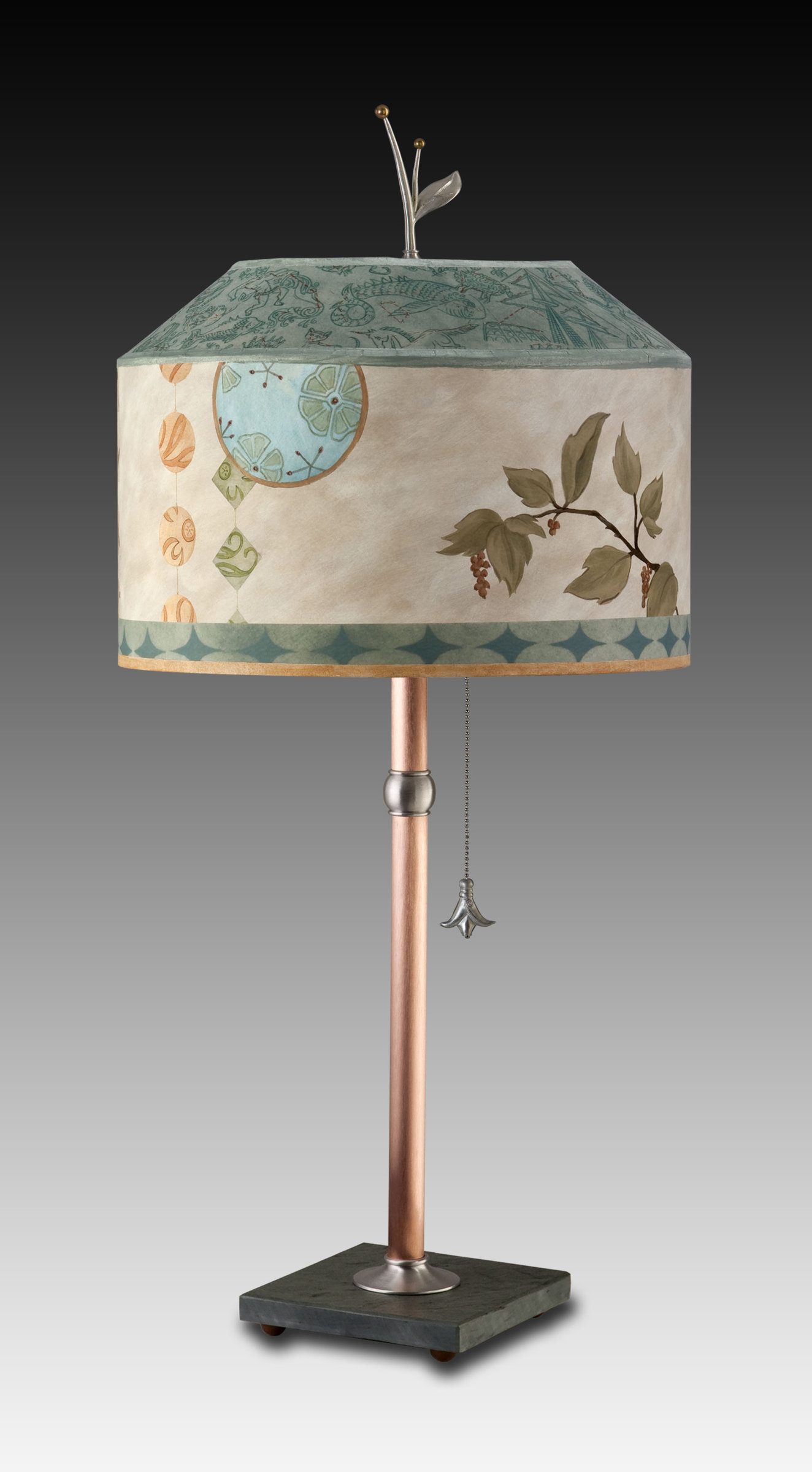 Celestial Leaf - Mixed Media Table Lamp - by Janna Ugone and Justin Thomas