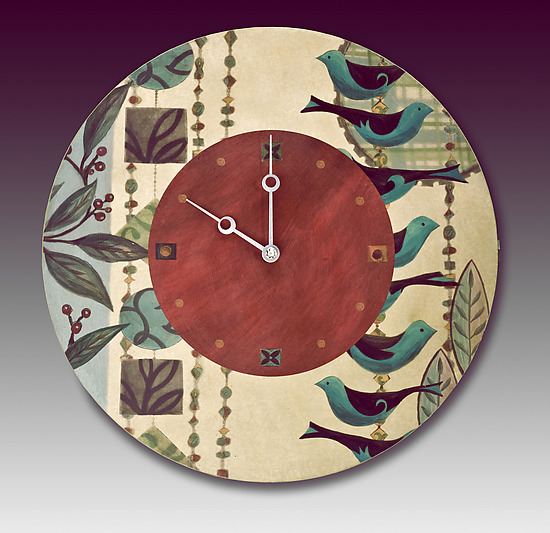 New Capri Wall Clock - Mixed Media Clock - by Janna Ugone and Justin Thomas