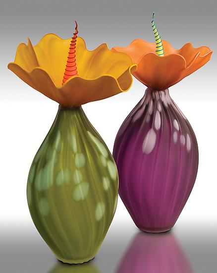 Spotted BOBtanicals - Art Glass Vessel - by Bob Kliss and Laurie Kliss
