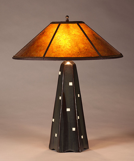 Six-Sided Lamp in Onyx with White Squares - Ceramic Table Lamp - by Jim Webb