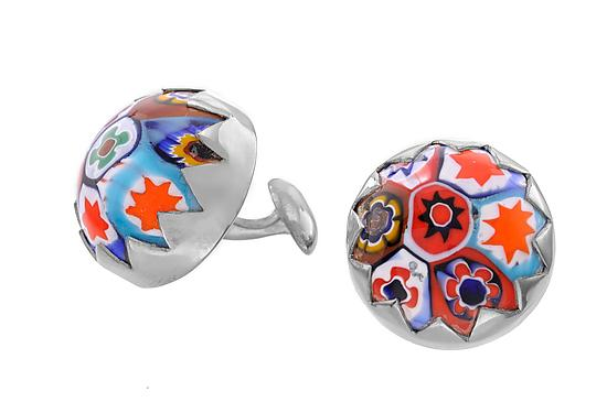 Multicolored Millefiore Cufflinks - Silver & Glass Cuff Links - by Jodi Brownstein