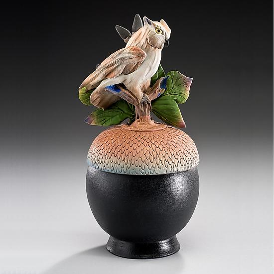 Owl Acorn Box - Ceramic Box - by Nancy Y. Adams