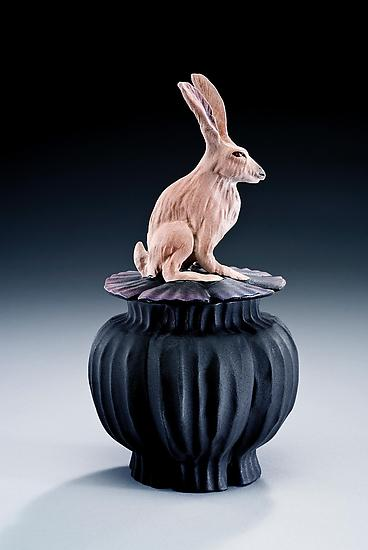 Jack Rabbit Box - Ceramic Box - by Nancy Y. Adams