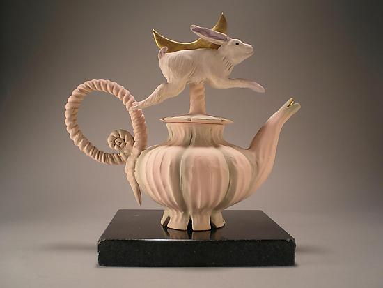 Rabbit by Moonlight Tea - Ceramic Teapot - by Nancy Y. Adams
