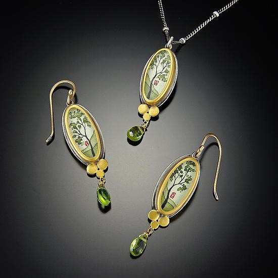 Spring Maple Necklace with Peridot - Gold, Silver, & Stone Necklace - by Ananda Khalsa