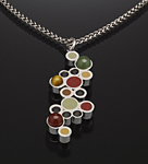 Silver, Stone & Polymer Clay Necklace by Susan Kinzig