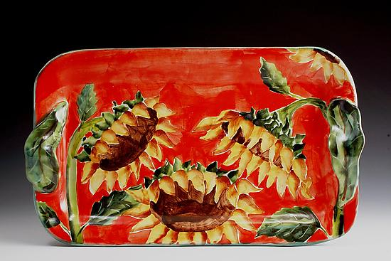 Medium Tray - Sunflowers - Ceramic Tray - by Peggy Crago