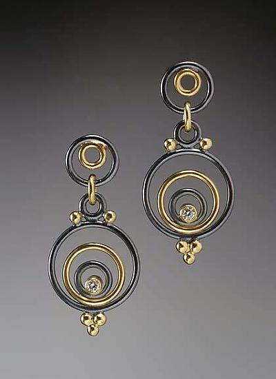 Evandre Earrings - Gold, Silver, & Stone Earrings - by Ben Neubauer