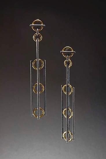 Deco Earrings - Gold & Silver Earrings - by Ben Neubauer