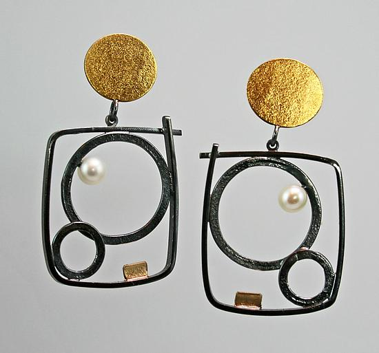 Bubble Graffiti Earrings - Gold, Silver, & Pearl Earrings - by Sydney Lynch