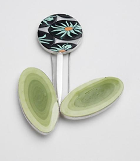 Spring has Sprung - Polymer & Silver Brooch - by Karen Sam Norgard and Virginia Wynne, metalsmith