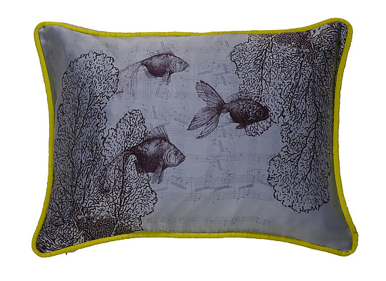 Swimming on Sky - Silk Pillow - by Laura Goldstein