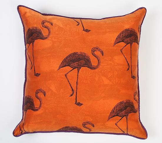 Flamingos on Firefly - Silk Pillow - by Laura Goldstein