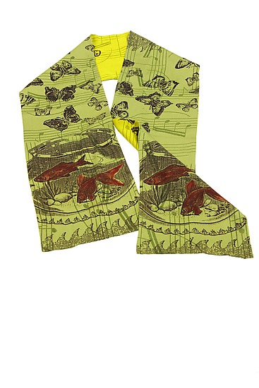 Fishy in Lemongrass/Citron - Silk Scarf - by Laura Goldstein