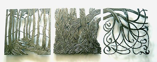 Forest Inspirations Triptych - Metal Wall Art - by Bernard Collin