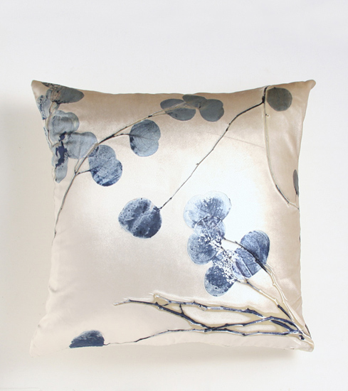Twilight Eucalyptus on Glaze - Etched Velvet Pillow - by Aviva Stanoff