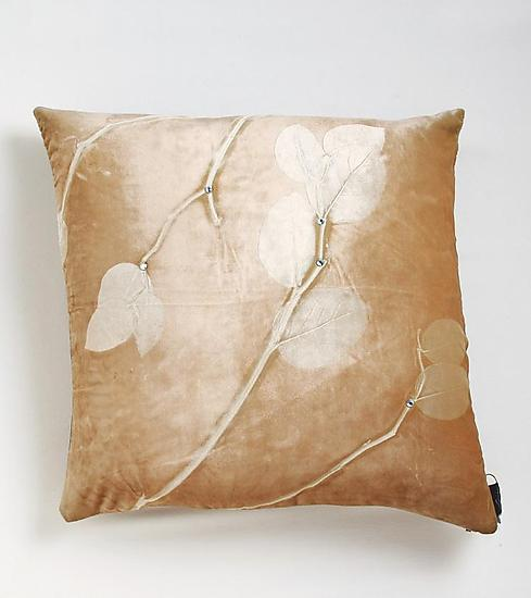 Lemon Leaf on Drift - Etched Velvet Pillow - by Aviva Stanoff