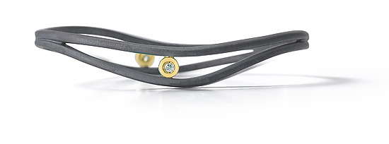 Ribbon Hinged Bangle - Gold, Silver, & Stone Bracelet - by Dana Melnick