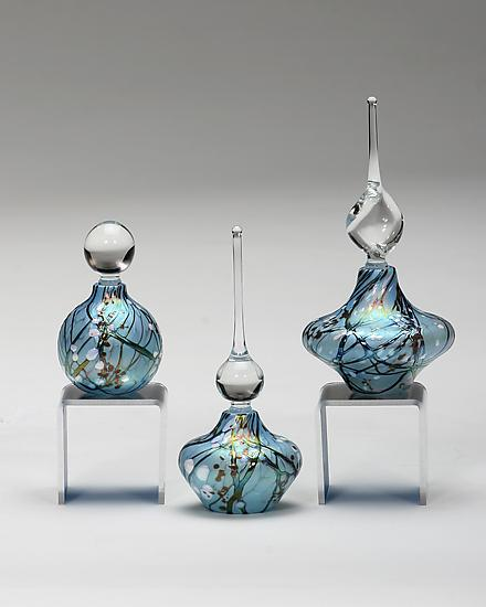 Cherry Blossom Perfume Bottles: Blue - Art Glass Perfume Bottle - by Bryce Dimitruk