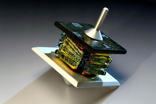 Gold Dreidel - Metal & Glass Dreidel - by Alicia Kelemen and Beatriz Kelemen