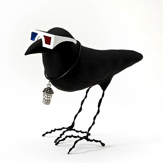 Cinephile Crow - Polymer Clay Sculpture - by Kamilla White