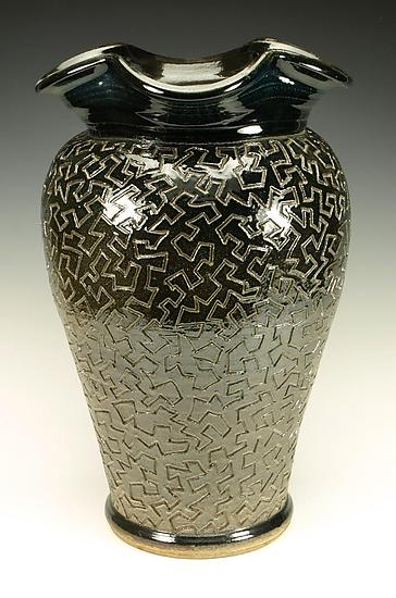 Zig Zag Puzzle Vessel with Black Gloss Glaze - Ceramic Vessel - by Lance Timco