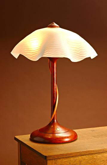 Table Lamp With Ridged Shade - Wood & Glass Table Lamp - by Clark Renfort