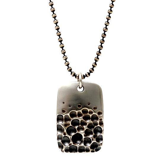 Crater Dog Tag Necklace - Silver Pendant - by Rebecca Overmann