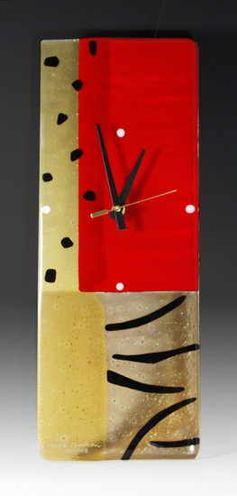 Jungle Red - Art Glass Clock - by Nina Cambron