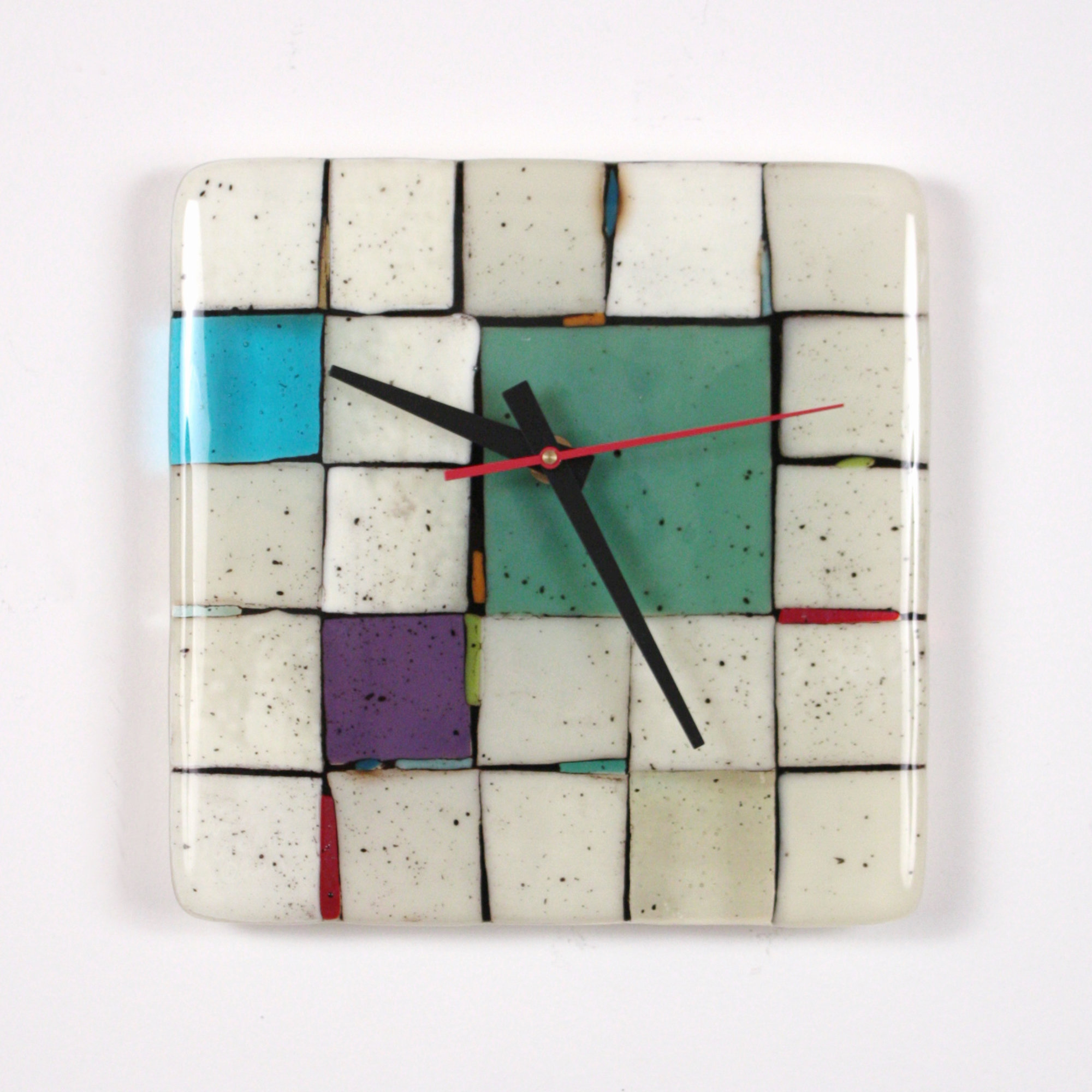 Tribeca: Sage - Art Glass Clock - by Nina Cambron