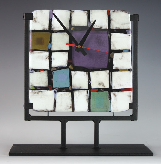 Tribeca: Purple - Art Glass Clock - by Nina Cambron