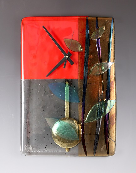 Red Bamboo Pendulum Clock - Art Glass Clock - by Nina Cambron