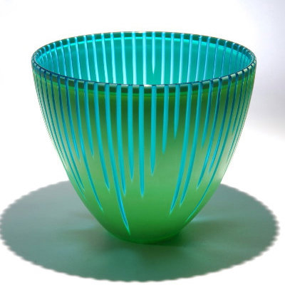 Carved Turquoise Green Vessel - Art Glass Vessel - by Christopher Jeffries