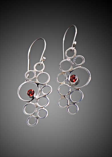 Garnet Cluster Earrings - Silver & Stone Earrings - by Kristin Lora
