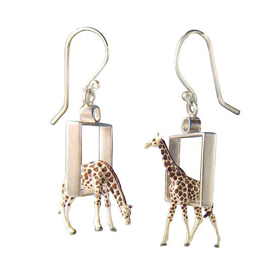 Giraffes in Squares Earrings - Silver Earrings - by Kristin Lora
